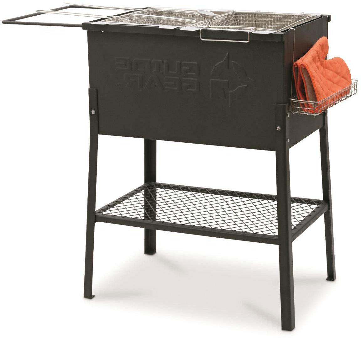 Portable Fryer Camp Party Grill 2 Burner Oil Fry