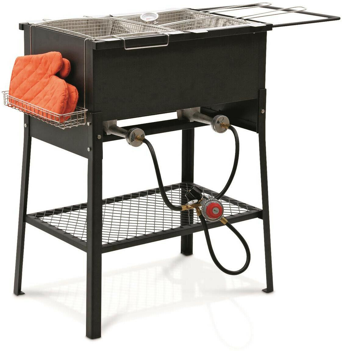 Portable 3 Fryer Camp Party 2 Propane Oil Fry
