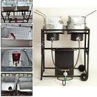 "30"" Propane Gas Two Frying Pans Deep Fryer Cooking Cooker Ca"