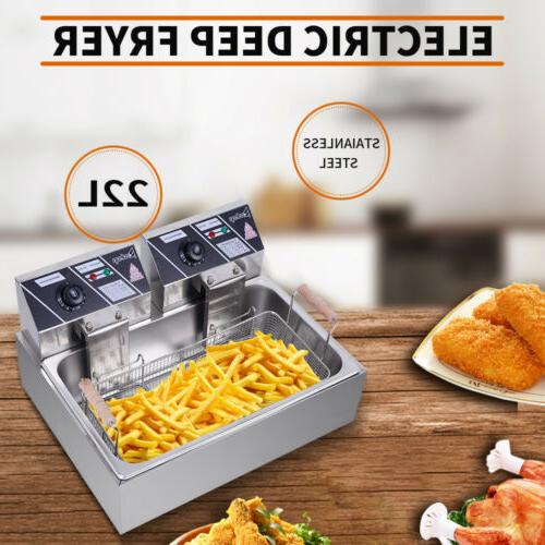 2500w electric deep fryer stainless steel tabletop