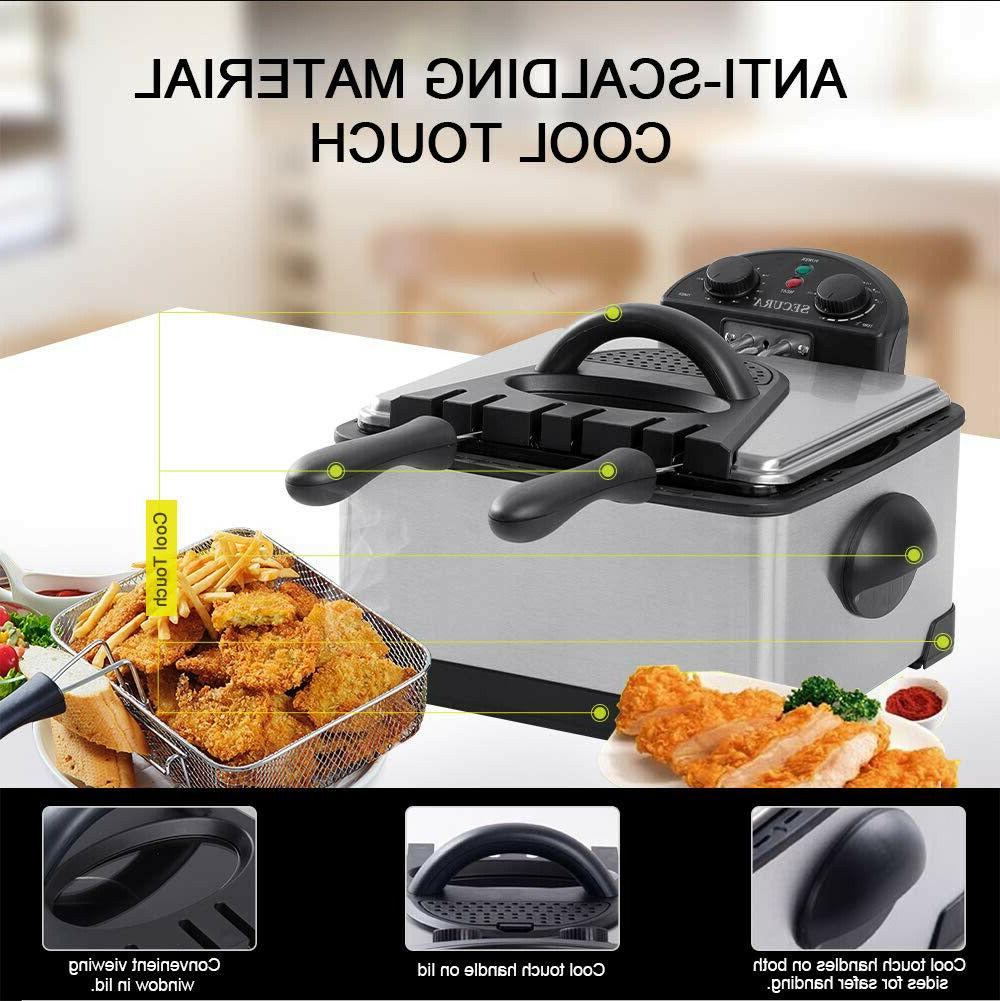 Stainless-Steel Deep Fryer With Timer Thermostat