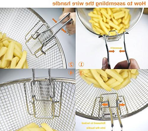 """9"""" Steel Deep Wire French Frying Tableware Fit For To 5/6L"""