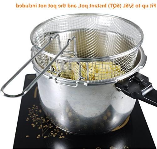 """9"""" Stainless Deep Basket Wire Mesh Frying Food Presentation Tableware Fit Up To 5/6L Pot"""