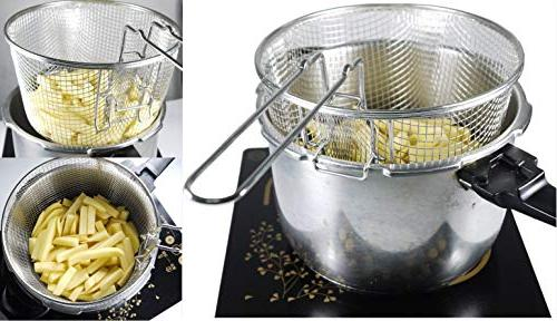"""9"""" Medium Stainless Deep Fry Wire Frying Food Tableware Fit Up To 5/6L"""