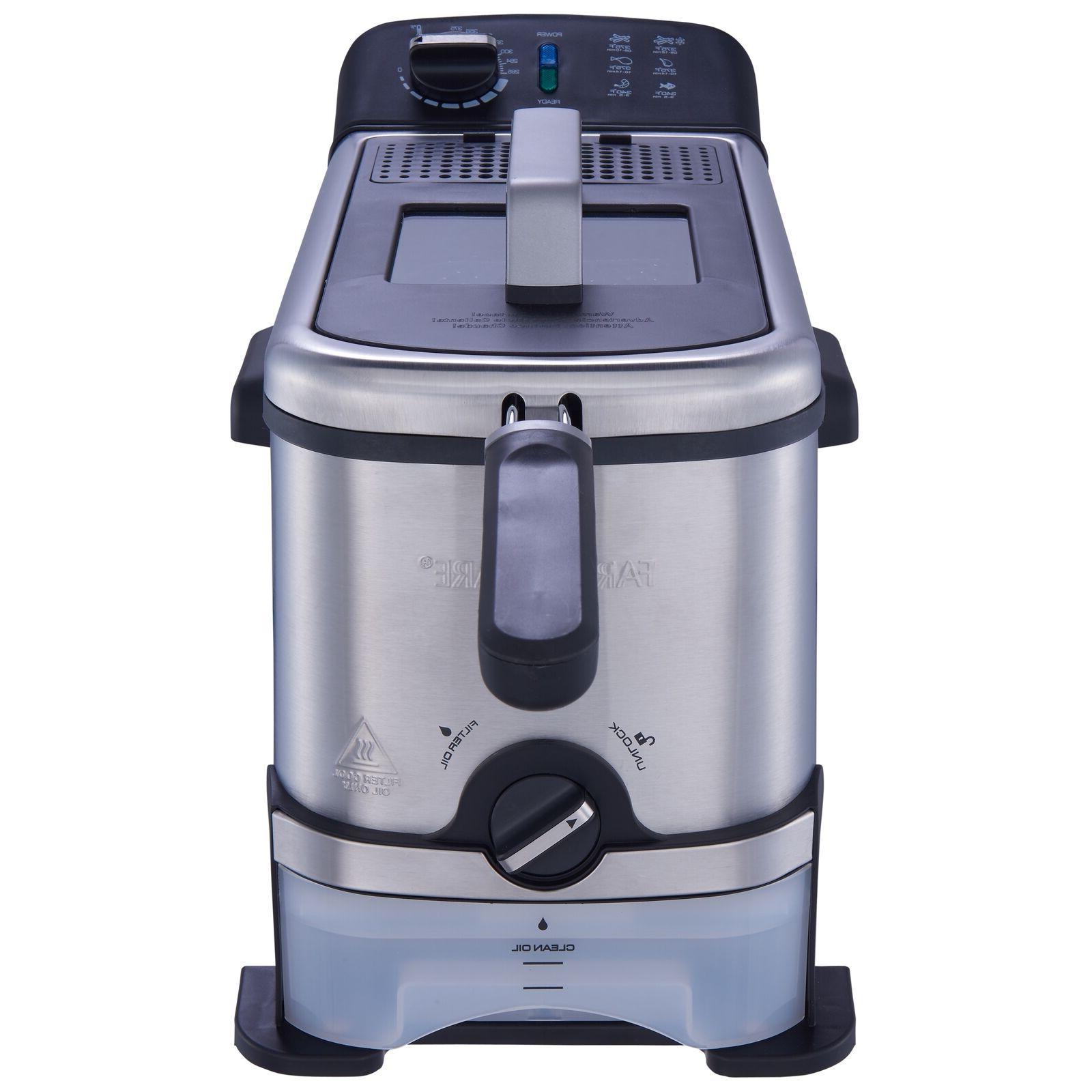 Stainless Steel Fryer 3 Liter Filtration System Silver Black Color