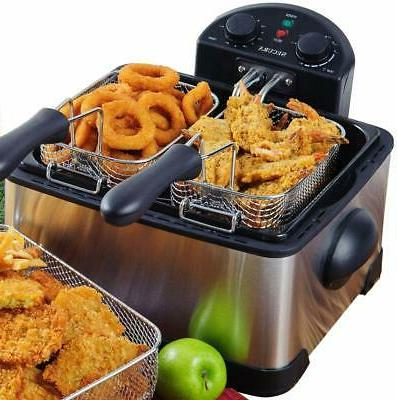stainless steel electric deep fryer triple basket