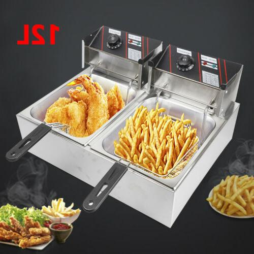 Stainless Large Dual Fryer W/ Double