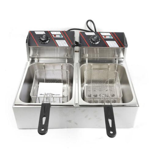 Stainless Steel Dual Tank Deep W/ Baskets