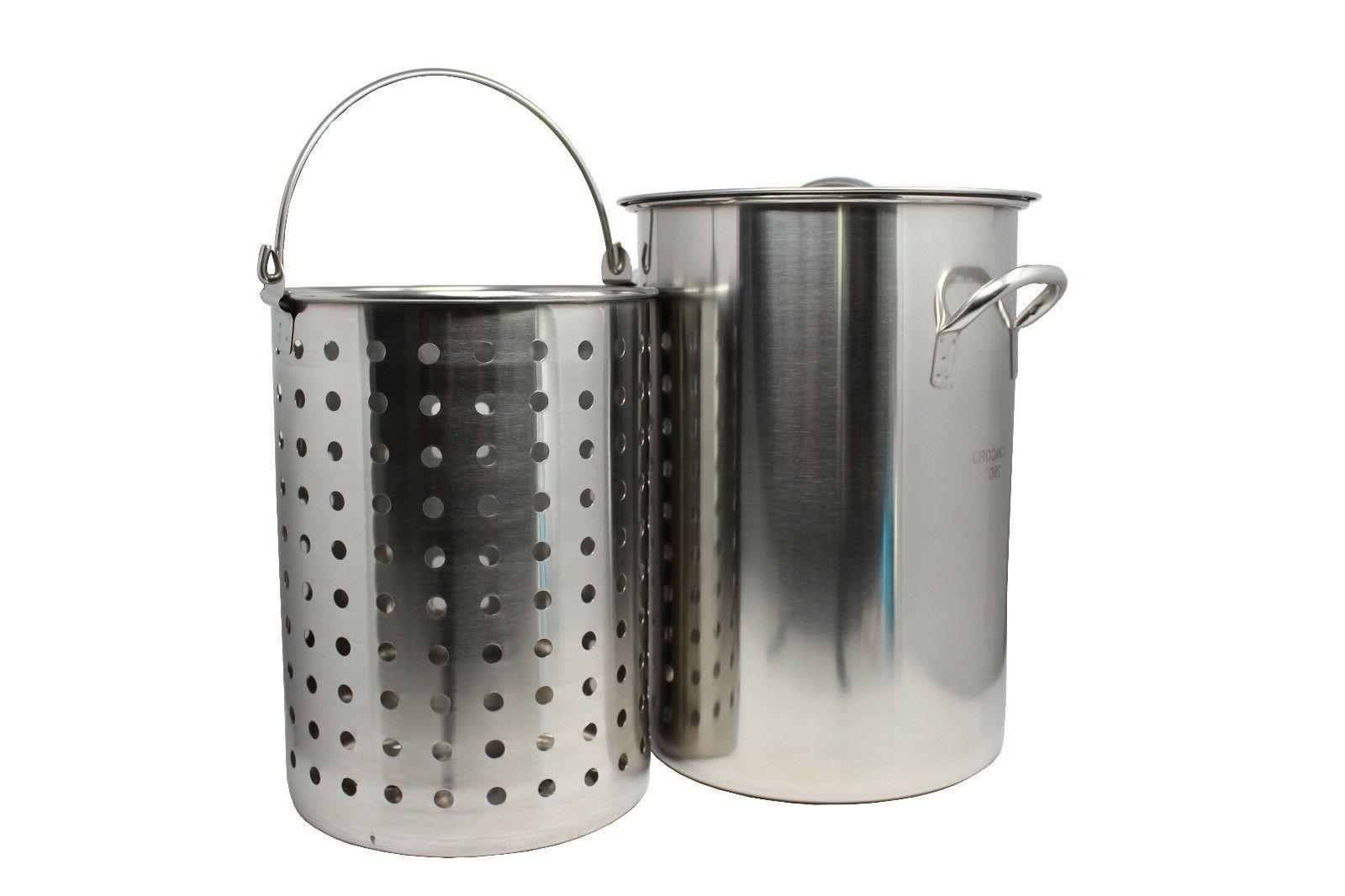 stainless steel stock pot w basket heavy