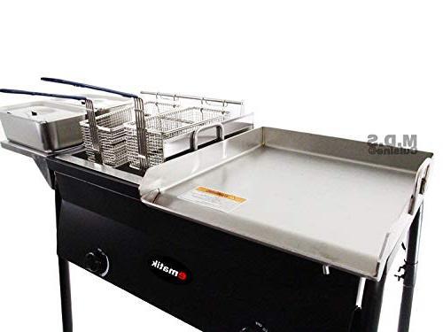 Ematik Cart Griddle 18x16 Steel, Double Fryer, Deep Trays