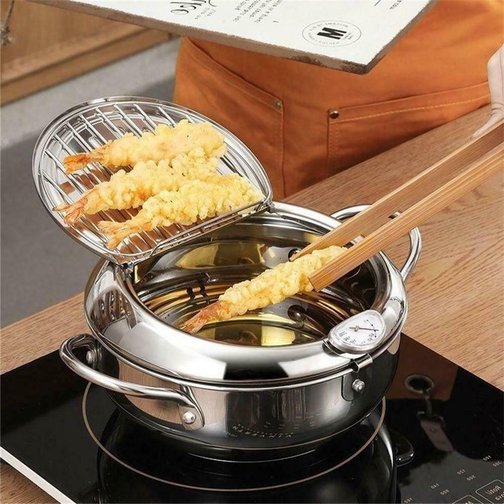 Deep Fryer with Thermometer and Lid Household Tempura Fryer