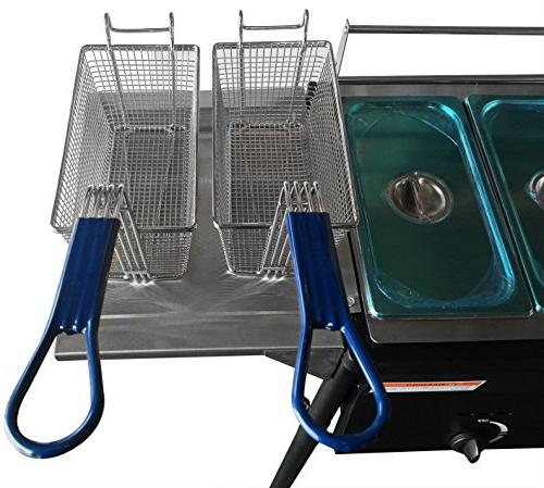 Bioexcel Steel Griddle Outdoor Tank Propane with Deep Trays & Stove - 3 in 1