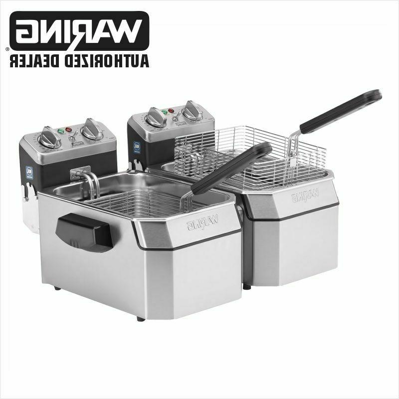Waring WDF1000BD Commercial Double 10 lb Electric Deep Fryer