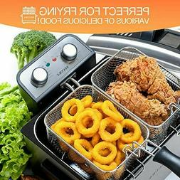 Secura Large Stainless Steel 4.2 Qt Electric Deep Fryer with