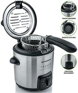 Ovente Mini Deep Fryer with Removable Basket Stainless Steel