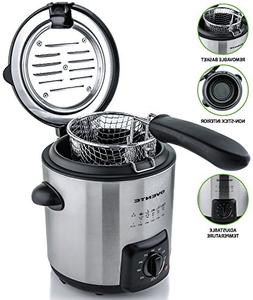 Ovente FDM1091BR Mini Deep Fryer with Removable Basket, Stai