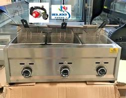 NEW 3 Burner Commercial Deep Fryer Model FY5 Propane Gas Us
