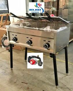 NEW 3 Burner Compartment Deep Fryer Model FY21Propane Use