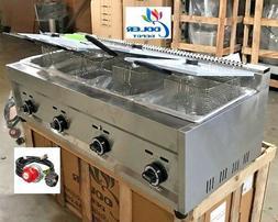 NEW 4 Burner Compartment Deep Fryer Model FY6Natural Gas P