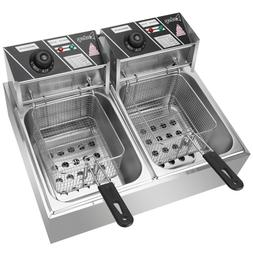 New 5000W Electric Countertop Deep Fryer Dual Tank Commercia