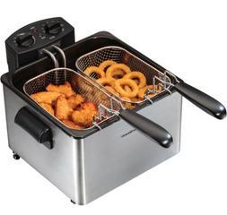 NEW!!Hamilton Beach Deep Fryer Professional-Style 3-Basket D