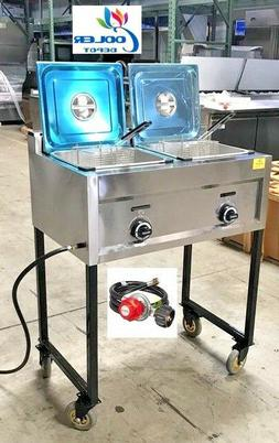NEW Double Deep Fryer Portable Cart Propane/Gas Use Stainles