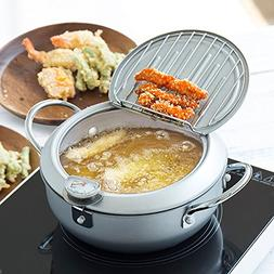Non-stick coating Frying pan with thermometer Tempura Fryer