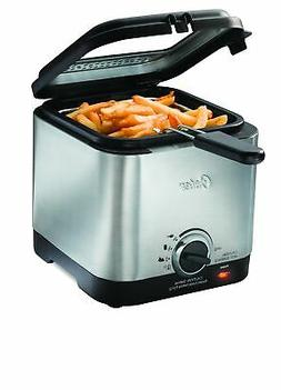Compact Stainless Steel Electric Deep Fryer Adjustable Tempe