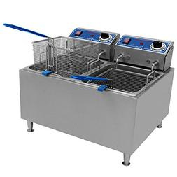 Globe PF32E 32 lb. Dual Tank Electric Countertop Fryer - Res