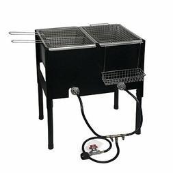 Propane LPG Camping Stove 2 Burner basket Gas Double Deep Fr