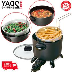 Small Kitchen Kettle Deep Fryer French Fries Slow Cooker Cro