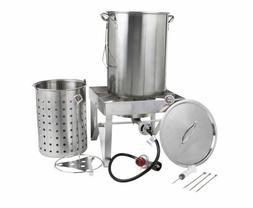 Stainless Outdoor Cooker Propane 30 Qt. Turkey Deep Fryer Po