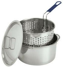 Bayou Classic Stainless Steel 14 Quart Deep Fryer With Lid a