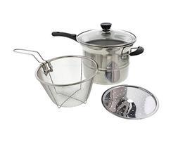 Cheftor Stainless Steel 3.5qt Soup Pot Boiler, Steamer, Deep