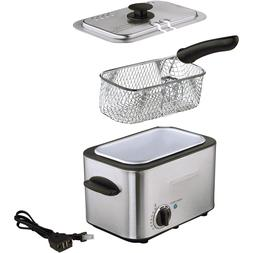 Stainless Steel Deep Fryer with Dishwasher-Safe Basket easy