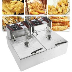 Stainless Steel Large Electric Dual Tank Deep Fryer W/ Doubl