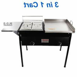 Taco Cart w/ Griddle 18x16 Stainless Steel Double Deep Fryer
