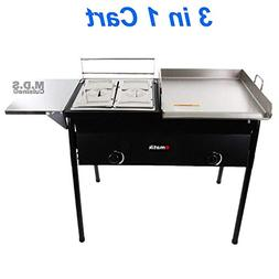 Ematik Taco Cart with Griddle 18x16 Stainless Steel, Double