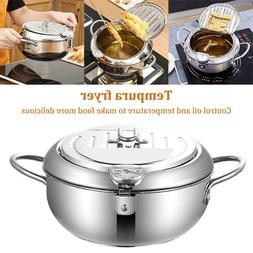 Tempura Deep Fryer with Thermometer and Lid Stainless Steel