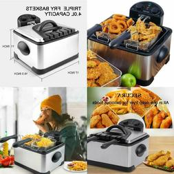 Triple Basket Electric Deep Fryer with Timer Free Extra Odor