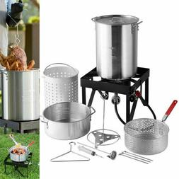 TURKEY DEEP FRYER Cooker Pot Frying Spout Stand Lifter Gas S