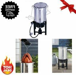 Turkey Fryer 30qt Pot Kit Thermometer Spout Stand Burner Pro