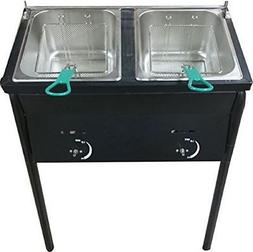 Bioexcel Two Propane Gas Tank Fryer with 2 Baskets & Stainle