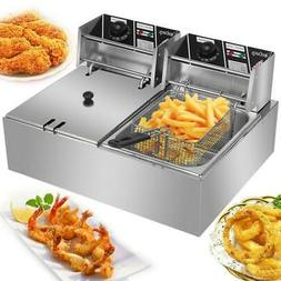 US 5000W Electric Countertop Deep Fryer 2 Tank Commercial Re