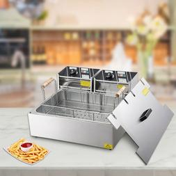 Yescom 20L 5000W Commercial Deep Fryer Large Tank Stainless